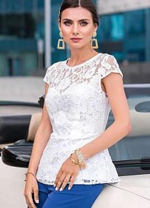 Акция‼️красивая кружевная блуза с баской и вырезом на спинке-🎁 юбка плиссе
