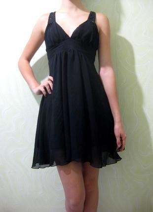 Платье дорогого бренда skandal чёрное расшитое бисером вечернее коктейльное нарядное