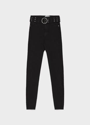 Джинсы джинси слим на высокой талии скинни скінні качественные новые с поясом  bershka