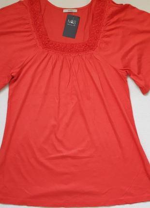 Классная терракотовая футболка туника с кружевной окантовкой большого размера m&s