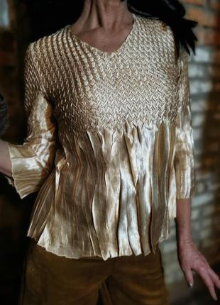Блуза плиссе жатая плиссированная вечерняя блестящая атлас атласная