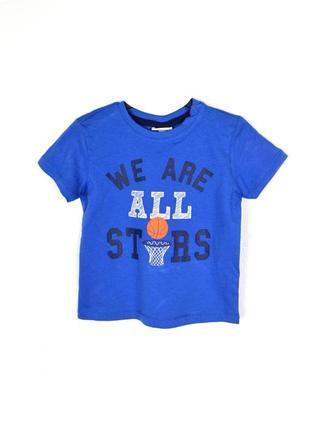 Ovs футболка рисунок хлопок синий