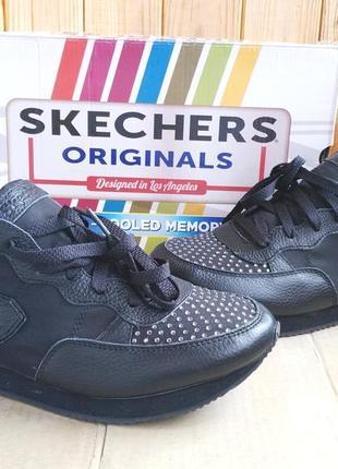 Супер стильные кожаные сникерсы кроссовки skechers air cooled memory foam оригинал в