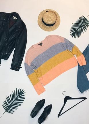 Шикарный разноцветней свитер джемпер свободного фасона от primark. р-р м