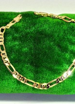 Позолоченный браслет 19 см/4 мм, позолота