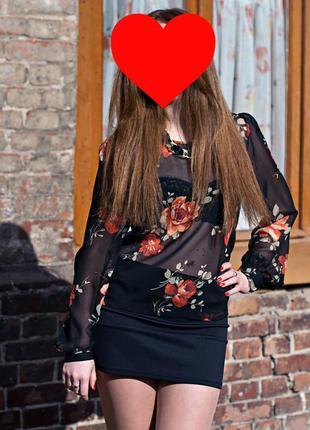 Прозрачная сексуальная блуза с розами от бренда e-vie размер s-m