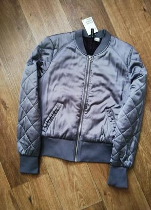 H&m атласный бомбер, куртка, курточка, ветровка
