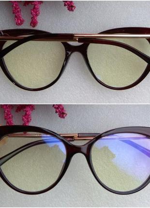 Новые стильные имиджевые очки лисички с антибликом, коричневые