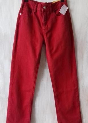 Яркие джинсы stradivarius высокая талия, укороченные, прямые, с биркой