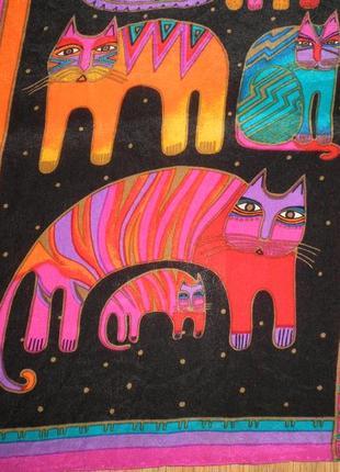 Очень яркий узнаваемый шарф laurel burch котейки шёлк креп де шин 126х26см