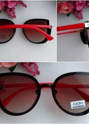 Новые модные очки бабочки с блестящей боковой защитой, с красными дужками