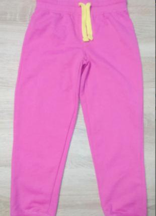 Спортивные штаны на флисе трикотажные светло розовые 1-2 лет
