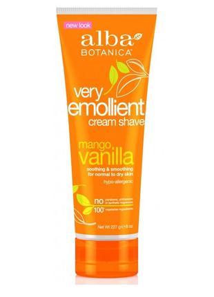 Смягчающий крем для бритья «манго и ваниль» very emollient alba botanica (сша)