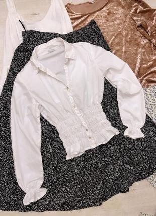 Натуральная блуза рубашка хлопок бохо на резинке объемный рукав тренд модель