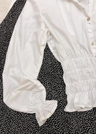 Блуза рубашка хлопок бохо на резинке объемный рукав тренд модель3 фото