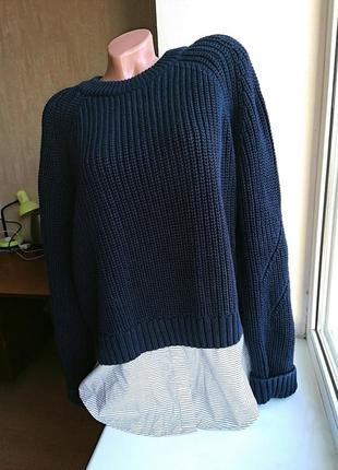 Натуральный свитер-двойка грубая вязка батал большой размер marks & spencer (к003)