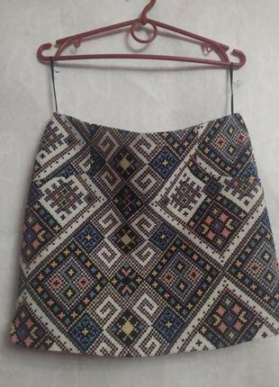 Теплая юбка с орнаментом