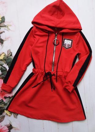 Модное платье с капюшоном. ткань:турецкая двухнитка.