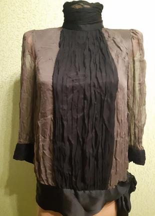 Блуза zara в романтическом стиле шелк