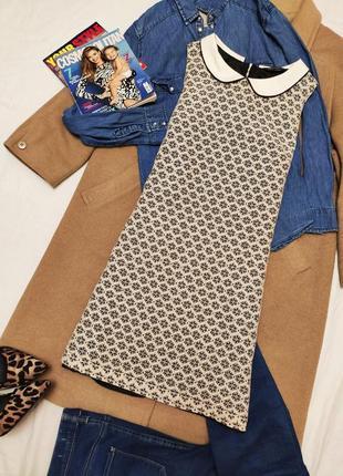 Miss selfridge платье ажурное чёрное бежевое с белым воротником прямое
