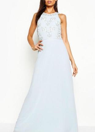 Платье вечернее на выпускной расшитое бусами и бисером boohoo размер 10