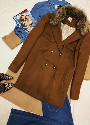 Пальто полупальто коричневое свободное оверсайз с мехом батал классическое бойфренд tu