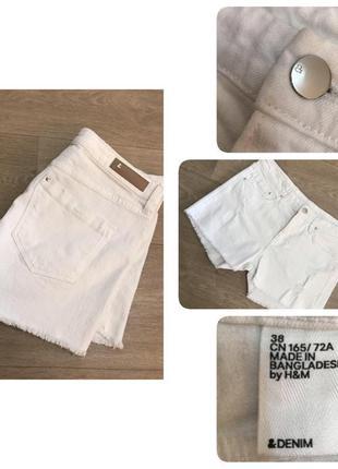 Классные белые джинсовые шорты h&m