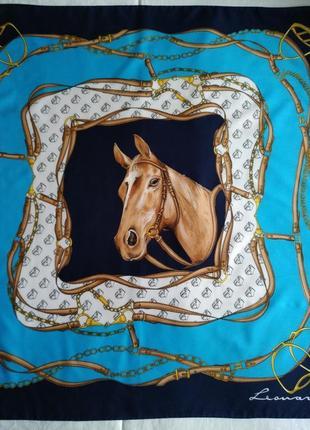 Leonardi - винтажный подписной платок с лошадью, 77х77см.