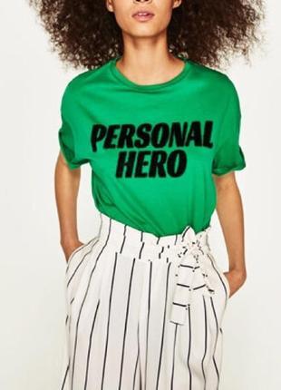 Крутая зелёная футболка zara personal hero