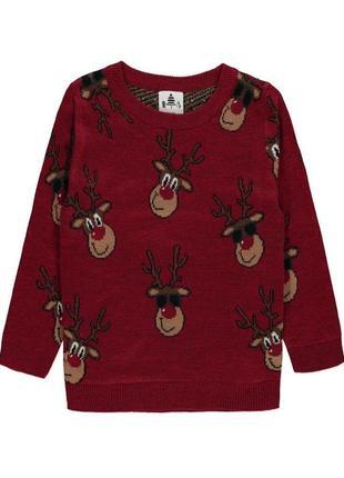 Красный вязаный рождественский джемпер