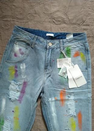 Новые джинсы мом в краске fun & fun бойфрендз высокая талия 100% хлопок