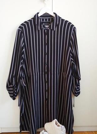 Стильное платье рубашка, синяя в белую полоску. canada
