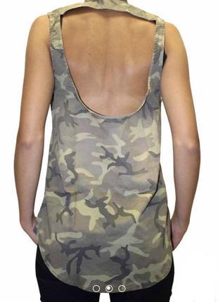 Камуфляжная,хаки рубашка,блуза с открытой спиной