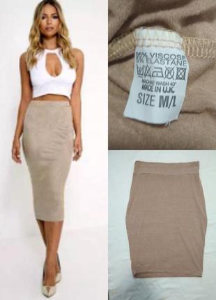 Бежевая юбка резинка из вискозы
