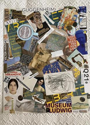 Коллаж картина с фотографиями, рисунками и вырезками искусство don.bacon 50*40 см