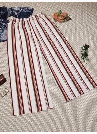 Широкие брюки в полоску/кюлоты/большого размера
