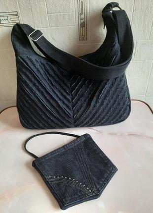 Джинсовая сумка ,декор в технике синель, ручная работа