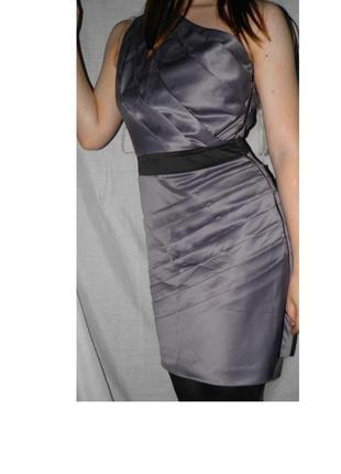 Новое платье с биркой атласное коктейльное открытые плечи короткое секси
