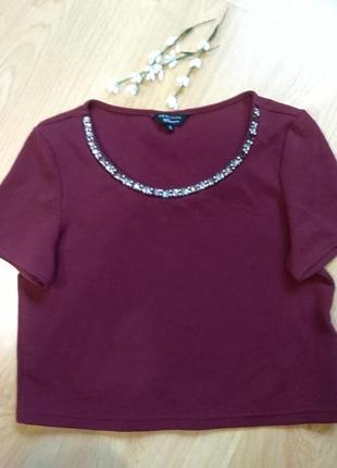 Шикарная стильная кофта, футболка с драгоценными камнями