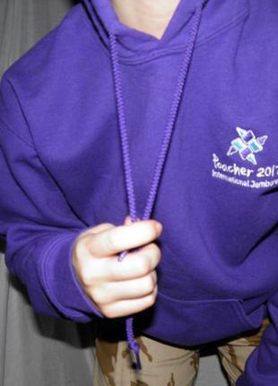 Фиолетовая толстовка теплая на флисе худи