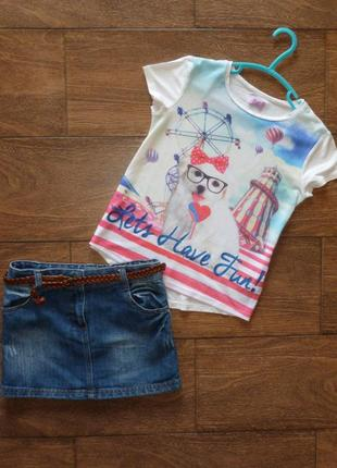 Стильный набор f&f на 6-7 лет джинсовая юбка с футболкой