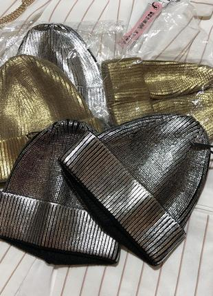 Новая шапка шапочка металлик с металическим напылением италия h&m zara