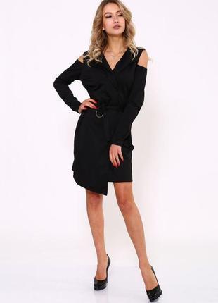 Чёрное платье на запах с открытыми плечами , с поясом, платье на запах