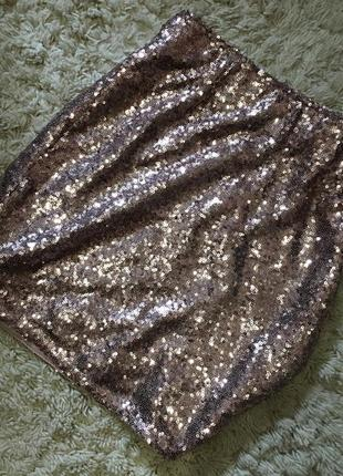 Шикарная блестящая юбочка в пайетки