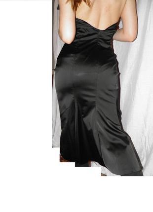 Платье вечернее роскошное атлас выпускной с бантиком коктейльное женственное элегантное