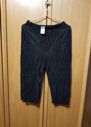 Черные кюлоты, штаны плисе, бриджи плиссе, короткие штаны