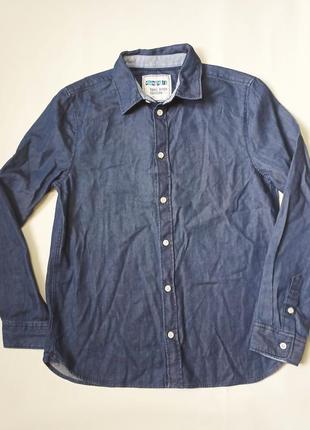 Хлопковая рубашка под джинс yangstyle для мальчика 9-10 лет