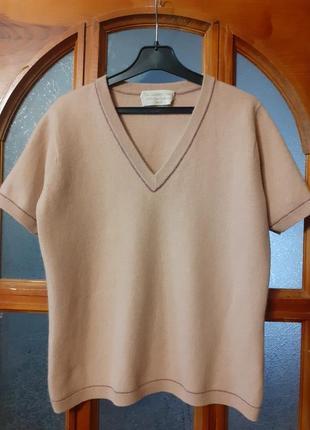 Кашемировый 100% топ базовый джемпер с короткими рукавами cashmere centre размер s-m