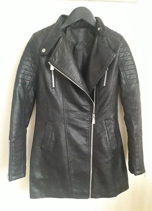 Черное пальто, косуха эко кожа,  размер xs