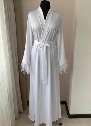 Свадебный белый будуарный халат халатик накидка с страусиным пером